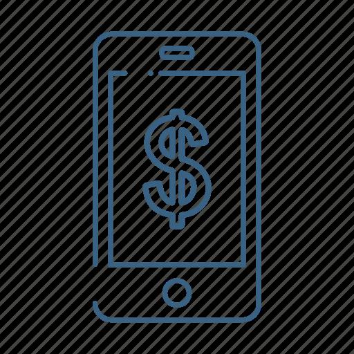 dollar, mobile, money, online icon