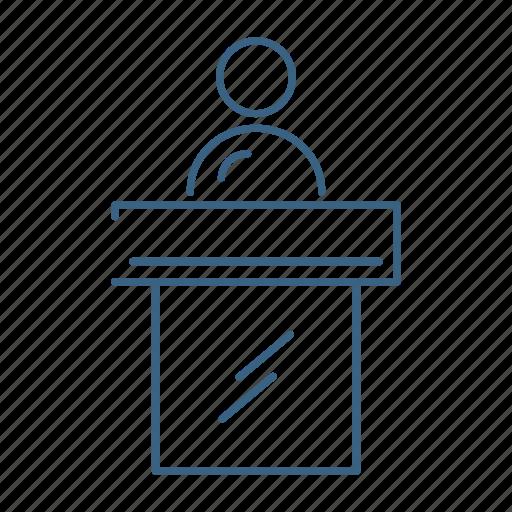 desk, marketing, office, reception icon