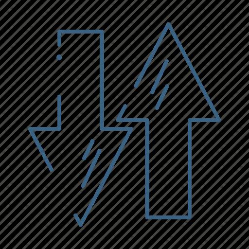 arrow, down, finance, up icon