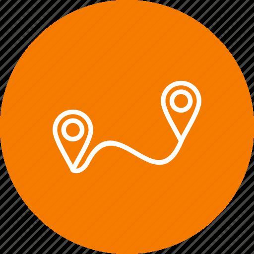 destination, navigation, path, route icon
