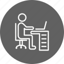 office, using laptop, working, workspace icon