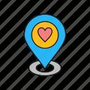 heart, like, location, love