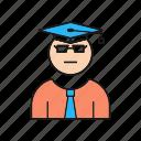graduate, male, student icon