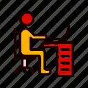 laptop, man, using, working, workspace icon
