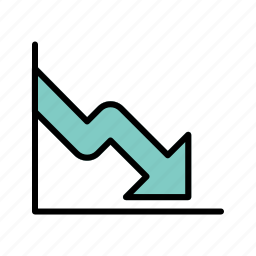business, business fall, down fall, loss icon