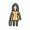 female, portfolio, woman, woman with briefcase icon