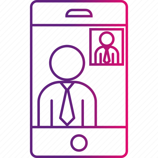business, call, man, mobile, smartphone, video icon