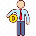 administration, bitcoin, business, money icon