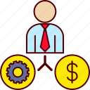 business, gear, job, man, money icon