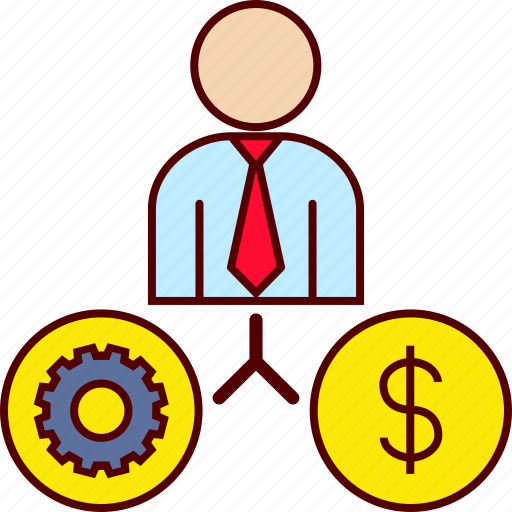 business, gear, job, man, money icon