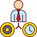 business, gear, job, man, time icon