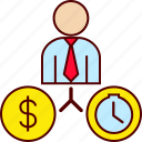 business, man, money, time icon