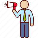 communication, executive, man, megaphone, speach icon