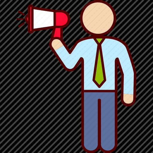 communication, executive, man, megaphone, speach icon