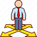 alternatives, direction, man icon