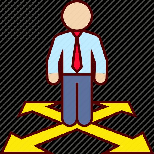 alternatives, direction, man icon