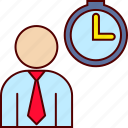 clock, executive, hour, man, time icon