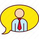 ballon, conversation, executive, text icon