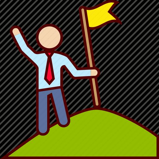 flag, goal, mountain, top icon