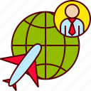 business, globe, man, plane, travel icon