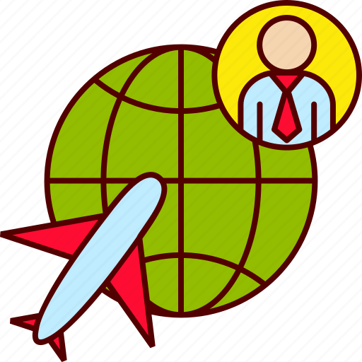 business, globe, man, plane, travel icon