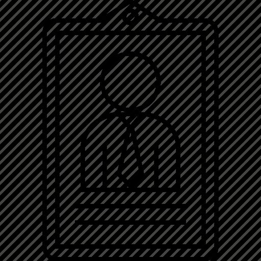 business, card, employee, id, man icon