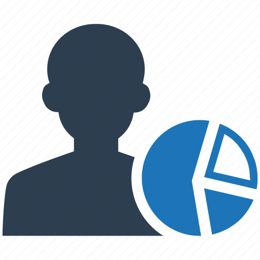 account, impression, pie chart, visits icon