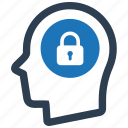 head, idea, lock, protection, security