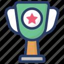 award, prize, sports cup, sports trophy, star trophy, trophy, winner icon