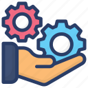 control, hands holding gear, leadership, management, organization, technical service icon