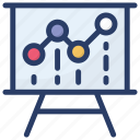 analytics, business data, business presentation, presentation board, statistics icon