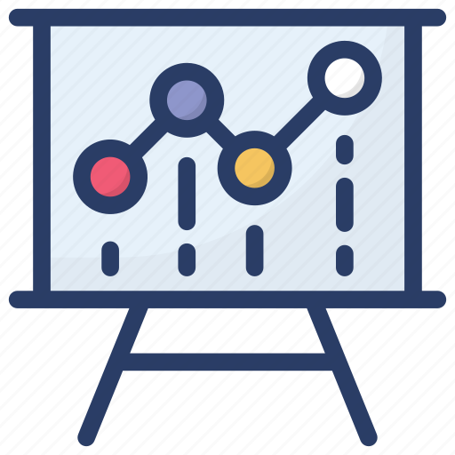 analytics, business data, business presentation, presentation board, statistics icon