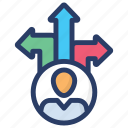 business decision, choosing direction, decision making, direction, navigation, path icon
