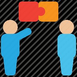 communication, conversation, debate, dialogue, discussion, puzzle icon