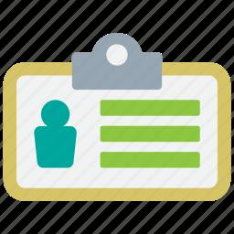 avatar, employee, info, namecard, profile, tag, user icon