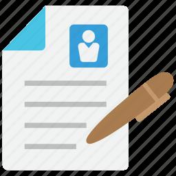 cv, document, job, labour, profile, resume, work icon