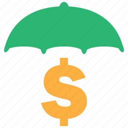 cash, currency, finance, money, secure, umbrella icon