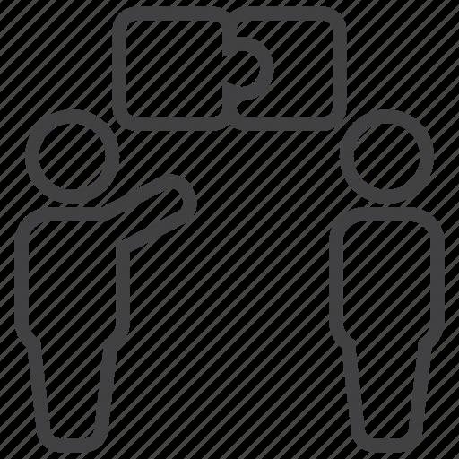 communicate, debate, discussion, problem, puzzle, solve icon