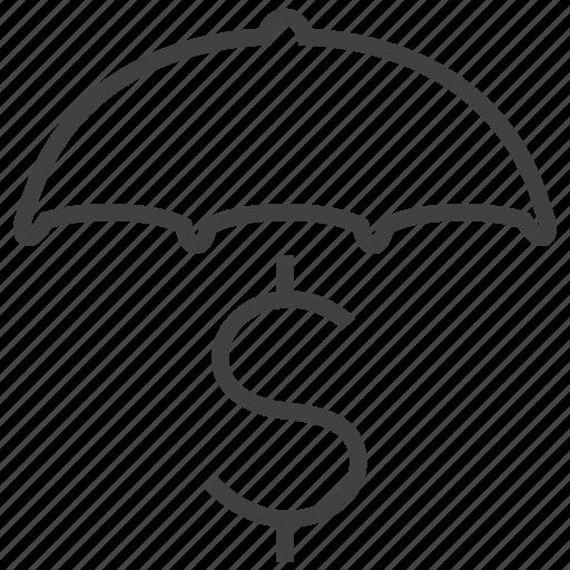 business, cash, cover, finance, money, secure, umbrella icon