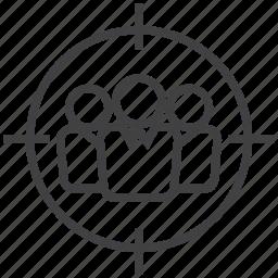 aim, customer, goal, head, hunter, target, user icon