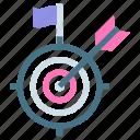 achieve, achievement, arrow, business, flag, goal, target icon