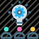 brainstorming, business idea, creative, efforts, settings, social, team icon