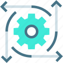 arrow, cogwheel, idea, marketing, preferences, project, revenue icon