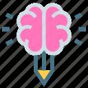 brain, businessman, creative, design, idea, medical, pencil icon