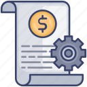 document, money, options, page, paper, preferences, settings