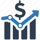 analytics, dollar, growth, income, investment, money, report icon