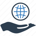 earth, global, globe, hand, international, investment, web icon