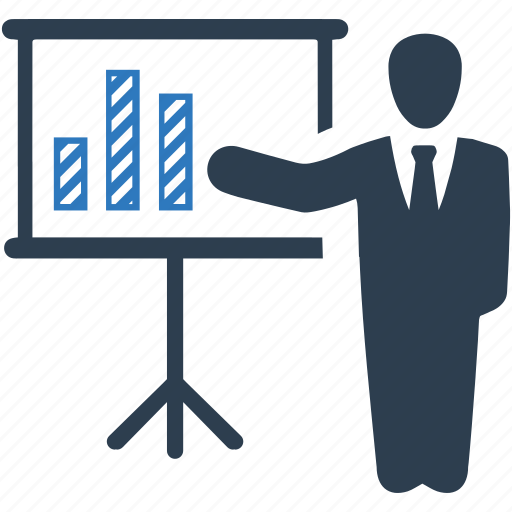 analytics, business presentation, businessman, graph, report, statistics icon