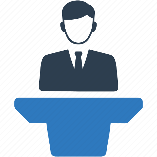 businessman, conference, lecture, meeting, presentation, speaker, speech icon