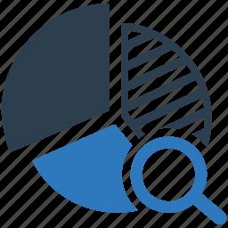 analytics, competetive, diagram, pie chart, report, search, statistics icon